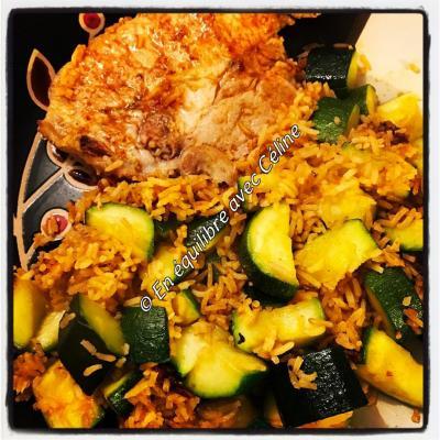 Côte de porc courgettes riz