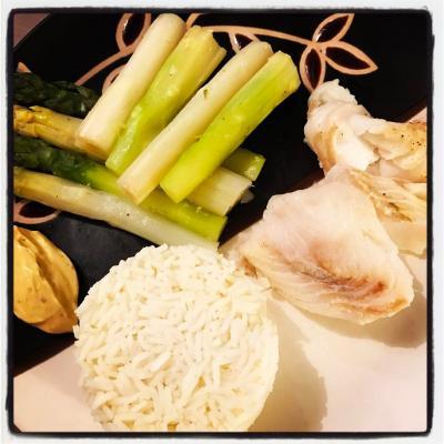 Poisson riz asperges